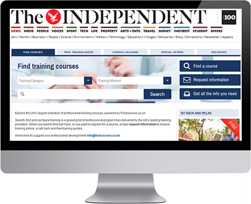 Screenshot of the Independent partnership with Findcourses.co.uk