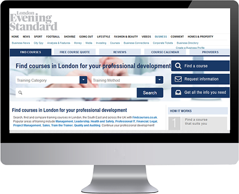 London Evening Standard partnership with Findcourses.co.uk screenshot